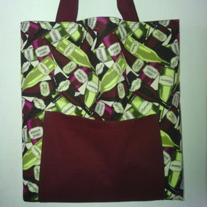 Maroon and Green Wine Print Shoulder / Tote Bag